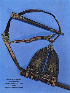 Rapier hanger, belt, and dagger sheath, ca. 1570.