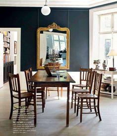 Peter Ingwersen's apartment - black, white, gold, warm wood.