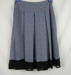 Worthington Skirt Size 6 Blue Pleated A Line Diamond Pattern Career Light weight #Worthington #Pleated