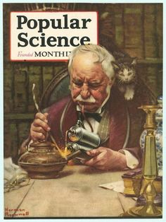 Soldering before the use of electric heating pens (P.K.) April 1921, cover art by Norman Rockwell