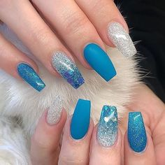 Super Cute Nail Art Ideas for Long Nails In 2019 – Long Nails – Long Nail Art Designs Blue Acrylic Nails, Acrylic Nail Designs, Blue Nails, Nail Art Designs, My Nails, Gradient Nails, Holographic Nails, Prom Nails, Matte Nails