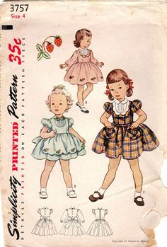 1950s Simplicity 3757 Vintage Sewing Pattern Girl's Party Dress, Full Skirt Dress Size 4