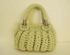 Vintage vert menthe Crochet gérer sacs vert menthe sac à main vert menthe sac à main vert menthe Tote vert mignon sac à main (N57)