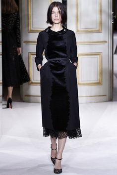 Chic leather petar-pan collar Coat dress @GiambattistaPR Giambattista Valli Spring Summer 2013 #HauteCouture  #Fashion