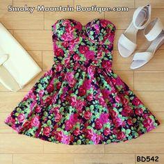 Rosana Floral Vintage Bustier Dress with Adjustable Straps