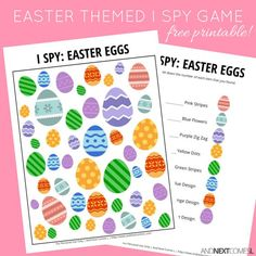 Free printable Easter themed I Spy game for kids from And Next Comes L