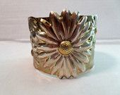 Vintage Sterling Silver Wide Cuff Bracelet Daisy Flowers Gold Vermeil 1990s Puff Relief Jewelry Accessories