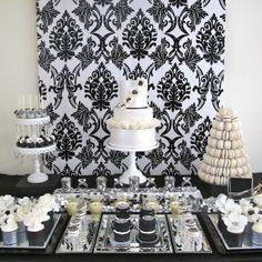 Little Big Empresa   O Blog: Glamorous preto e branco com um toque de mesa de prata por doces e bolos divinos