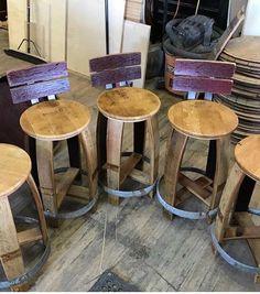 Wine Barrel Project Stool #WineBarrel