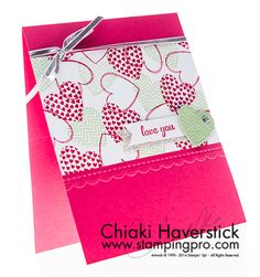 """Hearts a Flutter and Express Yourself stamp sets; Strawberry Slush & Pistachio Pudding inkpads and cardstocks; Silver Glimmer paper; Needlepoint Border TIEF; Rhinestone Basic Jewels; 1/8"""" Silver ribbon."""