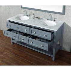 A large, open shelf adds generous storage space to this gray finish contemporary small double sink bathroom vanity. Marla contemporary small double sink bathroom vanity with mirror. Style # at Lamps Plus. Double Sink Bathroom, Bathroom Sink Vanity, Small Bathroom, Bathroom Kids, Washroom, Master Bathroom, Bath Store, Walk In Shower Designs, Wood Framed Mirror