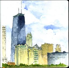 Urban Sketchers Chicago: The Hancock Tower – 360° and 365 Days  – Chicago © Barbara Weeks
