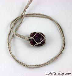 Lepidolite Hemp Wrapped Healing Crystal Necklace https://www.etsy.com/listing/464816553/