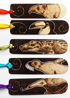 Pyrography Horizontal Animal Bookmarks by BumbleBeeFairy on deviantART