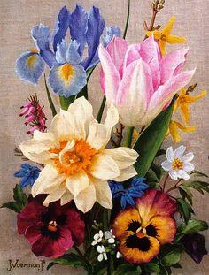Bouquet of springflowers, oil on canvas by Jan Voerman jr. (Dutch, 1890-1976)