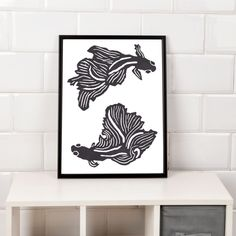Black and white betta fish print. Bold modern wall poster for hanging and framing, made up of a betta, Siamese fighting fish showing them circling each other in an interesting composition showing off their beauty. Siamese Fighting Fish, Nature Posters, Fish Print, Betta Fish, Modern Wall, Poster Wall, Composition, House Design, Black And White