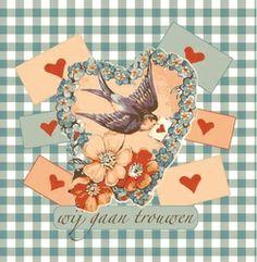 Zwaluw met brief in een groot hart. Romantische trouwkaarten voor de mooiste dag van je leven! http://www.trouwpost.nl/trouwkaarten/romantisch