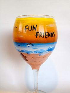 Painted Wine Glass Sunset and Beach themed by Brusheswithaview, $25.00 Can be Customized just for you !