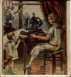 This printable image is 5 inches x 5 inches. Mother and Child at Sewing Machine Download Image - Amybarickman.com
