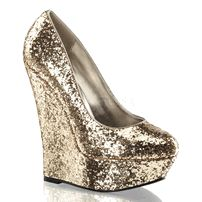 "LUSTER-20, 6"" Wedge Heel Pump in Gold Glitter  http://www.exotichighheels.com/lus20-gg.html?cmp=googleproducts&kw=lus20-gg&Color=Gold&Size=8&gclid=CLOp4orKkL0CFURlfgodUAkAbw"