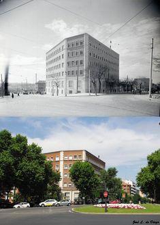 Ambulatorio (Centro de Especialidades) de Pontones - Pta. de Toledo 1952 vs 2019. Madrid, España. Multi Story Building, Pontoons, Photo Caption, Centre, Historia