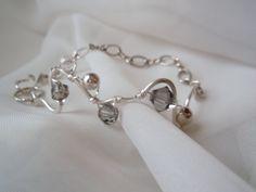 Wire Work Bracelet with smokey Swarovski Crystals
