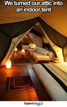 Dream house (attic converted to year-round indoor camping) Pretty Cool Future House, My House, House Tent, House Inside, Story House, Indoor Camping, Indoor Tents, Camping Room, Camping Indoors