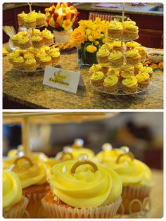 Yellow themed Bridal Shower Engagement ring cupcakes Summer Wedding