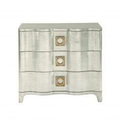 Silver leaf Bedside Chest with Brass handles, Bed Down Furniture Atlanta