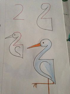 Fun and beautiful drawings ideas. Children will be inspired by these drawings. Creative and fun idea craft for kids! Art Drawings For Kids, Drawing For Kids, Animal Drawings, Easy Drawings, Art For Kids, Crafts For Kids, Arts And Crafts, Paper Crafts, Learn Drawing