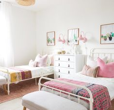 shared girl bedroom decor, girl bedroom with two beds, pink boho girl bedroom Toddler Bedrooms, Bedroom Decor, Big Kids Room, Kids Bedroom Designs, Shared Girls Room, Room, Home Decor, Shared Bedrooms, Shared Room