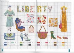 0 point de croix femme mode liberty - cross stitch liberty fashion lady by corinne lacroix