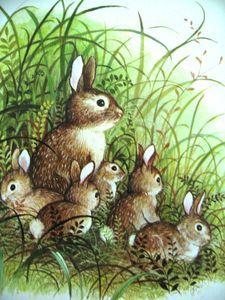 Bunny Family in Spring ~ by Gyo Fujikawa Art And Illustration, Illustration Mignonne, Beatrix Potter, Lapin Art, Art Mignon, Some Bunny Loves You, Rabbit Art, Bunny Art, Pet Birds
