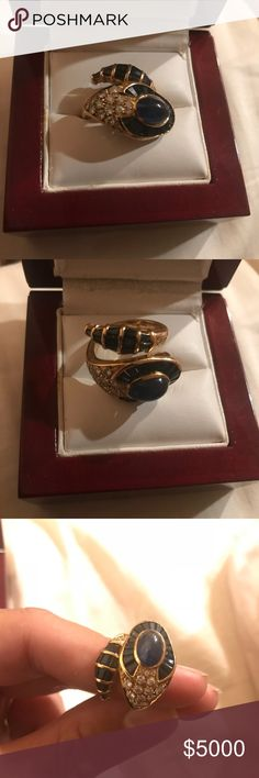 Vintage Antique 18KT gold ring!!!! Vintage Antique 18KT Yellow Gold, Sapphires and Diamonds ring Made In Italy Serpenti Collection!!!! Jewelry Rings