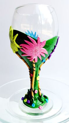 Dr. Seuss Wine Glass Polymer Clay Wine Glass. by KellyArceDesign