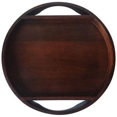 Mid-Century Rosewood Veneer Round Tray (160 CAD) ❤ liked on Polyvore featuring home, kitchen & dining, serveware and serving trays