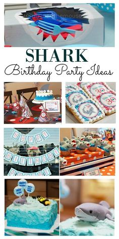 Here is an awesome selection of shark birthday party ideas to help with your planning. There are ideas for food, decorations and favors, which is everything you need to create an amazing shark party. The kids will love it, and its easier than you think Shark Party Decorations, Food Decorations, Birthday Party Decorations, Shark Party Foods, Boy Birthday Parties, 2nd Birthday, Themed Parties, Birthday Party Favors, Birthday Ideas