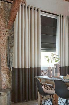 custom window treatments : colorblock draperies and ribbed pleat roman shades