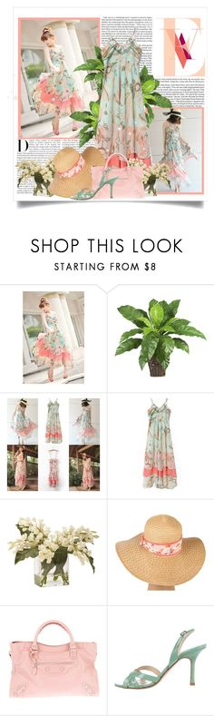 """Pastel Sundress"" by jen-ela ❤ liked on Polyvore featuring Karl Lagerfeld, Ethan Allen, BCBGeneration, Balenciaga and Jimmy Choo"