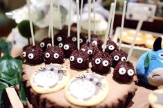 Cute cake pops at a Totoro birthday party! See more party ideas at CatchMyParty.com!