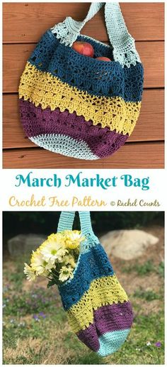 Crochet accessories 472878029622335980 - March Market Bag Crochet Free Pattern – Market Grocery Patterns Source by Bag Crochet, Crochet Market Bag, Crochet Gratis, Crochet Handbags, Crochet Purses, Free Crochet, Crochet Stitch, Bag Pattern Free, Handbag Patterns