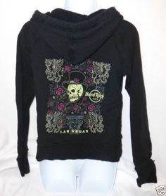 Hard Rock Cafe Skull Hoodie. Perfect for a little edge with your cozy !  Hard-Rock-Cafe-Womens-Large-Hoodie-Black-Skull-Las-Vegas-Juniors-Zip-Up-Jacket