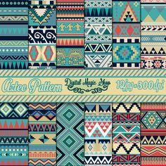 12 Nature Tones Aztec Pattern Digital Paper, Ikat, geometric pattern, native…