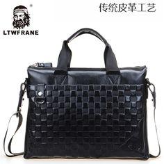 LTWFRANE Genuine Leather M Package Men Handbags Business Package Leather Briefcase Computer Bag Plaid Handbags 16248414559