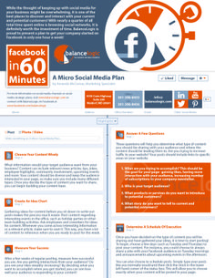 """While the thought of keeping up with social media for your business might be overwhelming, it is one of the best places to discover and interact with your current and potential customers!  Read the BalanceLogic """"Facebook in 60 Minutes"""" Plan and get started today!  #facebook #socialmedia #marketing"""