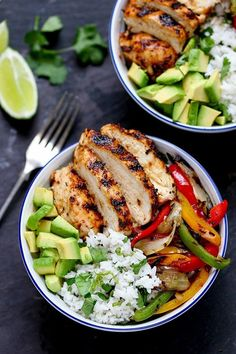 Juicy griddled Cajun chicken with charred veggies and coriander-lime rice –…