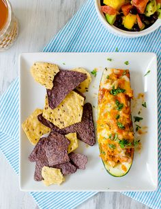 Chicken Enchilada-Stuffed Zucchini Boats
