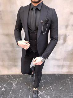 ideas for outfits All Black Tuxedo, All Black Suit, Tuxedo For Men, Mens Fashion Suits, Mens Suits, Mens Tux, Dress Suits For Men, Designer Suits For Men, Slim Fit Suits