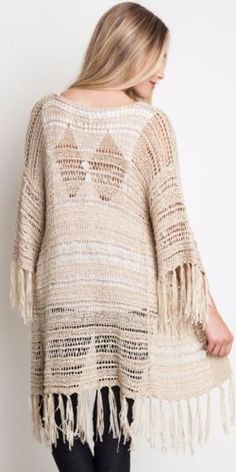 Umgee-Sheer-Knit-Sweater-Wrap-Fringe-Trim-Boho-Chic-Hippie-Gypsy-Tan-A9676 #Unique_Boho_Style