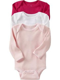 Bodysuit 3-Packs for Baby - Three times the comfort and the value! A soft cotton bodysuit is an essential part of every babys wardrobe and this 3-pack lets you stock up and save.